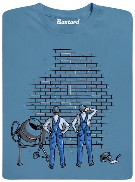 Zedníci staví zeď - modré pánské tričko