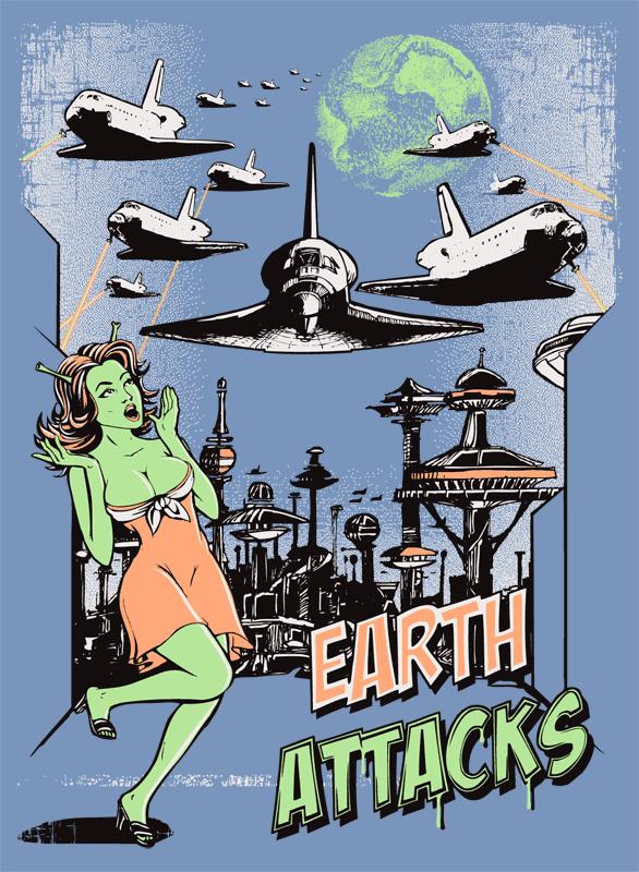 Země útočí raketoplány - světle modré
