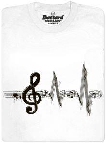 Žiju muzikou - bílé pánské tričko s potiskem