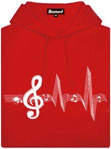 Červená dámská mikina s potiskem Žiju muzikou