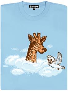 Žirafa nad mraky - modré dámské tričko