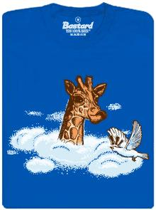 Žirafa s hlavou v oblacích - modré pánské tričko
