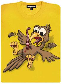Vetřelec žížala versus pták - žluté dámské tričko