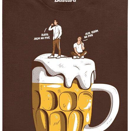 Zlato jsem na pivě, sedím na pivu - hnědé pánské tričko
