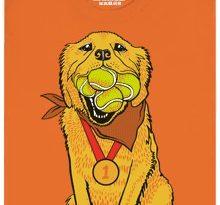 Zlatý retrívr - šampion v chytání míčků - oranžové pánské tričko