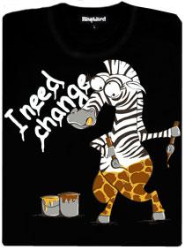 Změna zebry na žirafu - černé pánské tričko