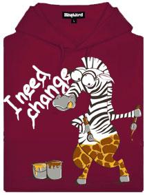 Změna zebry na žirafu - fialová dámská mikina
