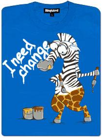 Přemalování zebry na žirafu - modré dámské tričko