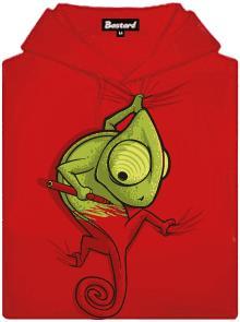 Chameleon se zmizíkem - červená dámská mikina