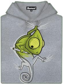 Zmizíkující se chameleon - šedá pánská mikina
