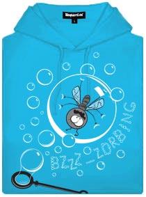 Modrá dámská mikina s potiskem Zorbing moucha v bublině