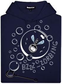Modrá pánská mikina s potiskem Zorbing - moucha v bublině