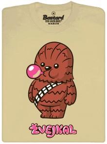 Žvejkal ze Star wars dělá bublinu ze žvýkačky - hnědé pánské tričko