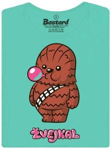 Chewbacca ze Star Wars žvýká žvýkačku - modré dámské tričko